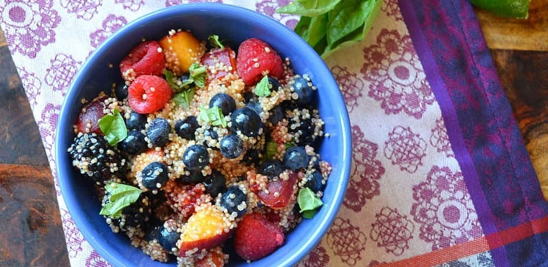 Cold and Refreshing Quinoa Fruit Salad with Honey and Mint