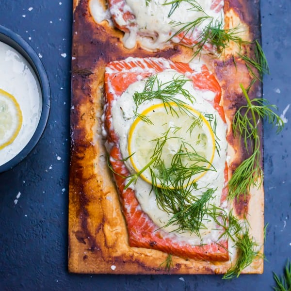 Cedar Plank Salmon with Creamy Dill Sauce and Fresh Lemon