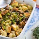 Challah Stuffing with Turkey Sausage, Leeks and Cherries
