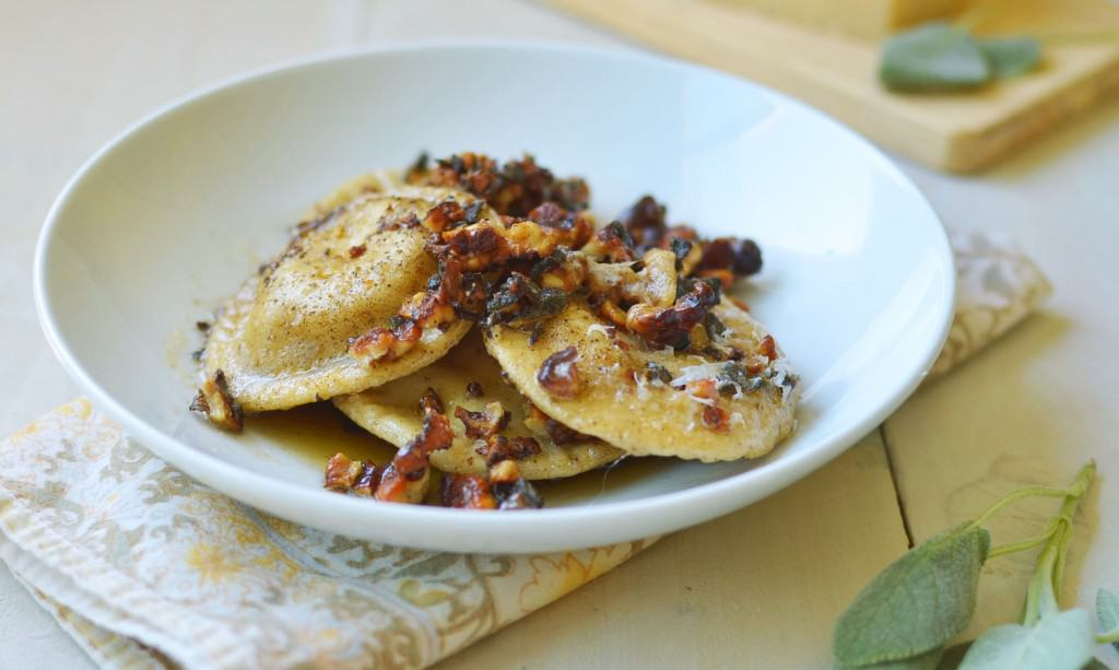 Homemade Pumpkin-Ricotta Ravioli with Brown Butter Walnut Sauce - The ...