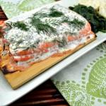 Cedar Plank Salmon with Creamy Dill Sauce