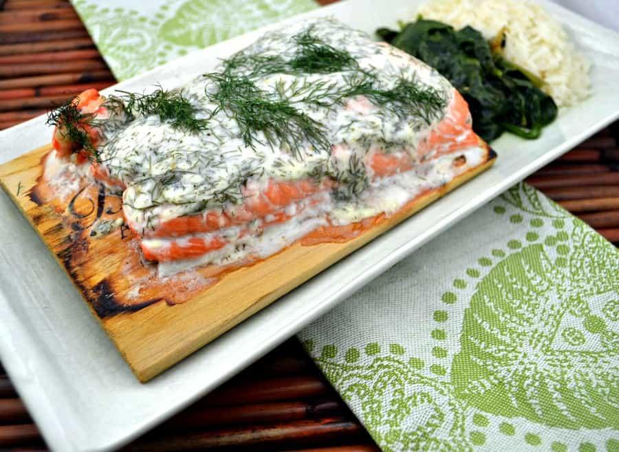 Cedar-Planked Salmon With Herbed Yogurt Sauce Recipes — Dishmaps