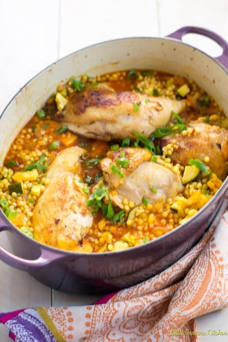 One pot garlic chicken with saffron and israeli couscous the one pot garlic chicken with saffron and israeli couscous the little ferraro kitchen forumfinder Gallery