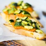 Roasted Vegetable and Romesco Crostini #AppetizerWeek #OXO