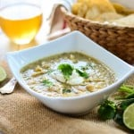 Chicken chili verde is a delicious and simple Mexican stew full of chicken and beans and bright flavors of fresh lime and tomatillos.
