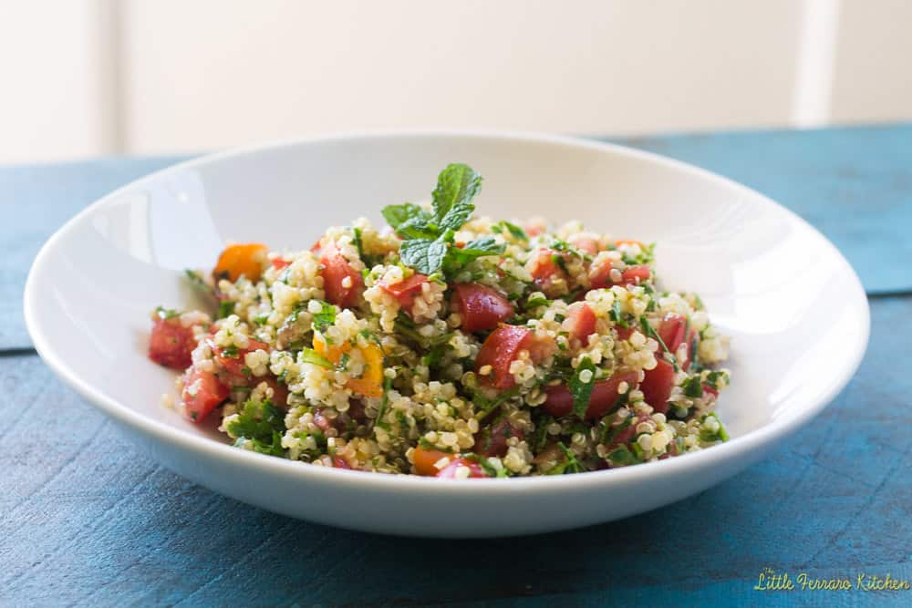 Quinoa tabbouleh is a healthy and modern twist on the traditional tabbouleh salad with parsley, mint and a light dressing of olive oil and lemon juice.