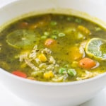 Peruvian Cilantro and Turkey Soup (Aguadito de Cava) #SundaySupper