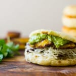 Plantain, Black Bean and Havarti Arepas