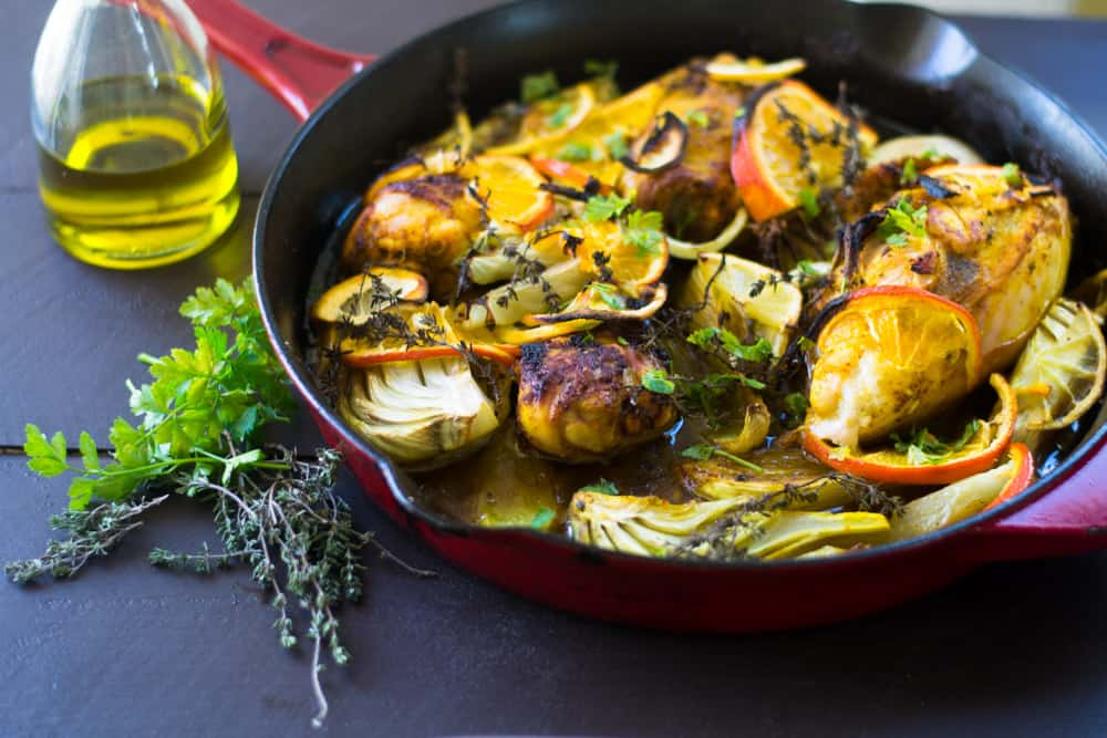 Olive Oil Braised Chicken with Citrus, Fennel and Turmeric | The ...