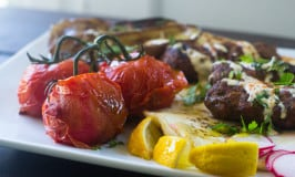 Grilled Kofta with Eggplant and Tomatoes