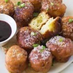 Savory Hatch Chile and Cheddar Donuts with Raspberry Wine Sauce