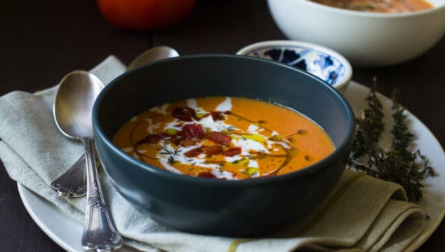 Roasted Tomato Soup with Coconut Milk and Prosciutto