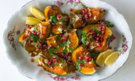 Roasted Kabocha Squash with Pomegranate Molasses and Tahini