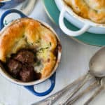 Beef Bourguignon pot pie filled with sauteed mushrooms and onions and topped with a flaky (and easy) puff pastry crust.