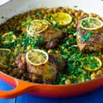 One Pot Lemon Chicken with Rice and Chickpeas