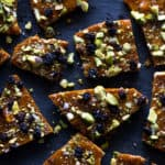 Giving brittle a Persian twist with saffron, pistachios and currants.