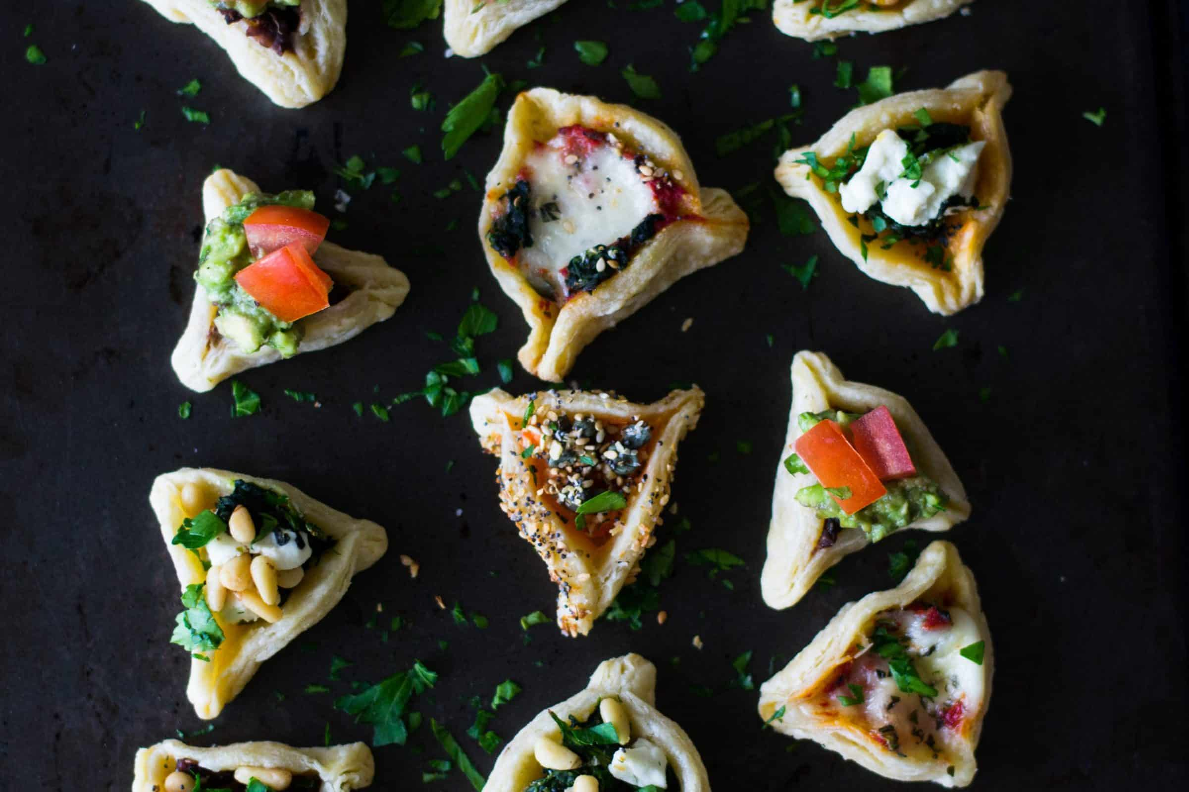 Savory hamantaschen bars with six different fillings
