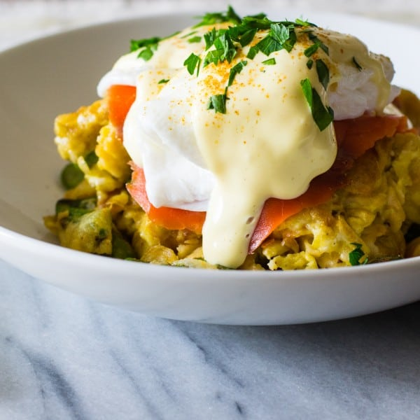 Matzo Brei Eggs Beneduct with Lox