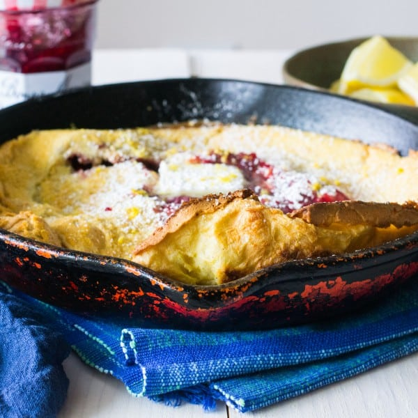Raspberry Lemon Dutch Baby Pancake