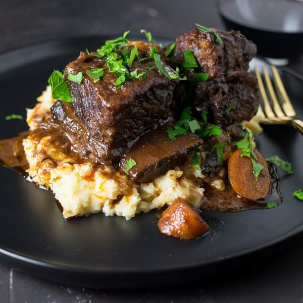 short ribs, dinner, braise, beef, meat, red wine, parsnip