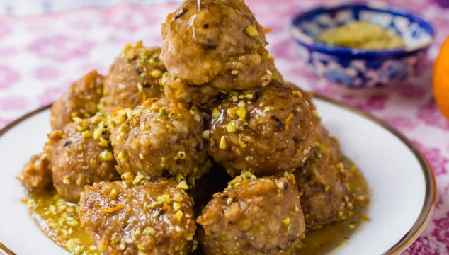 Baklava Bimuelos: Passover Donuts with Pistachios and Rose Water Syrup