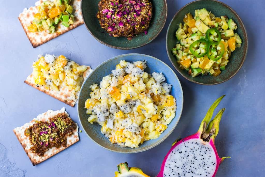 Passover Charoset Three Ways: Tropical Charoset with mango, pineapple and mac nuts, Persian Dried Fruit Charoset and Tex-Mex Salsa inspired Charoset