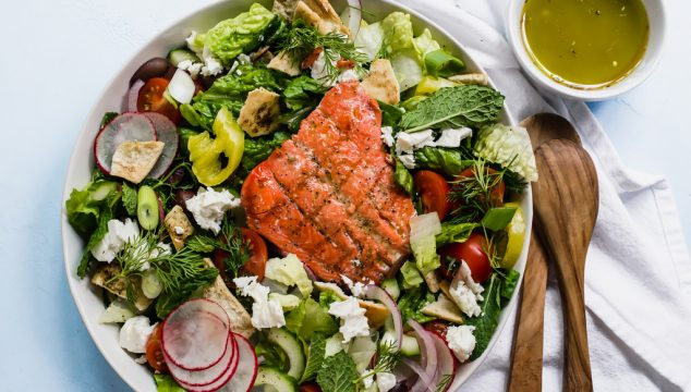 Greek Fattoush Salad with Grilled Salmon and Red Wine Vinaigrette