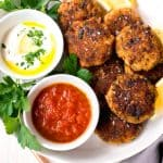 Mediterranean Fish Cakes with Lemon Horseradish and Cumin Tomato Sauce