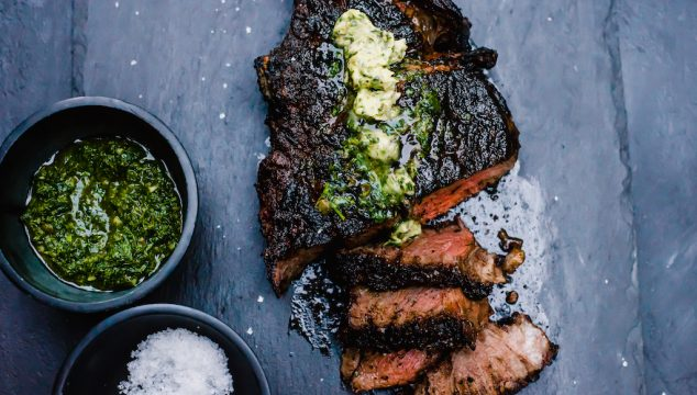 Grilled Tomahawk Steak with Chimichurri Compound Butter
