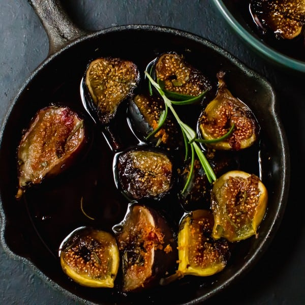 Red Wine Roasted Figs, Baked in Cast Iron with Rosemary