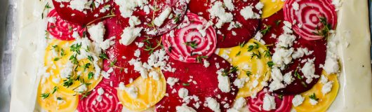 This colorful beet phyllo tart is an easy and impressive appetizer. Thinly sliced beets are layered on top of phyllo sheets and scattered with salty feta and fresh aromatic thyme.