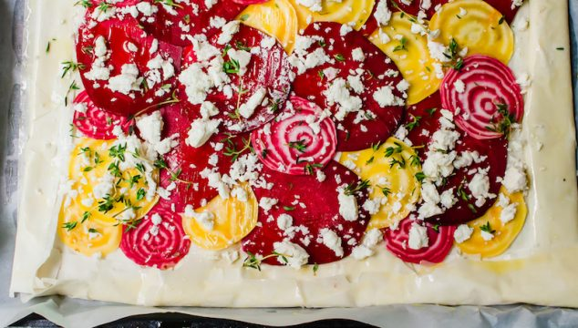Beet Phyllo Tart with Feta and Thyme