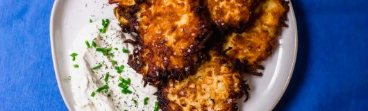 A play on the traditional potato latkes, these salt and vinegar potato latkes have a hint of sourness from the vinegar and a healthy sprinkle of sea salt. Serve along side onion and chive sour cream for a fun play on latkes.