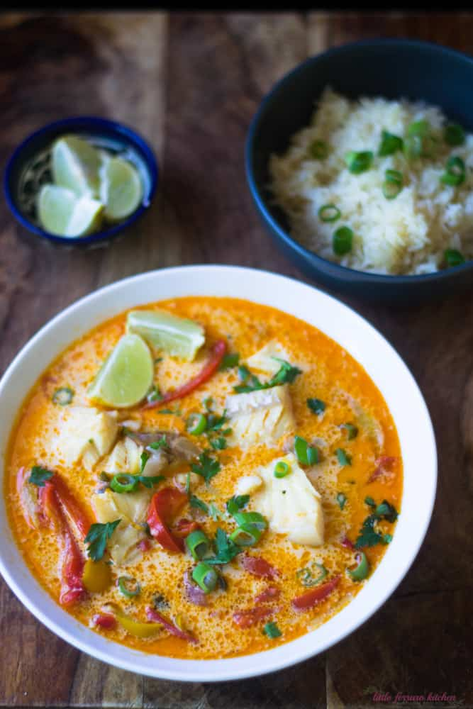 Serve Brazilian Fish Stew (Moqueca) with lime scented rice.
