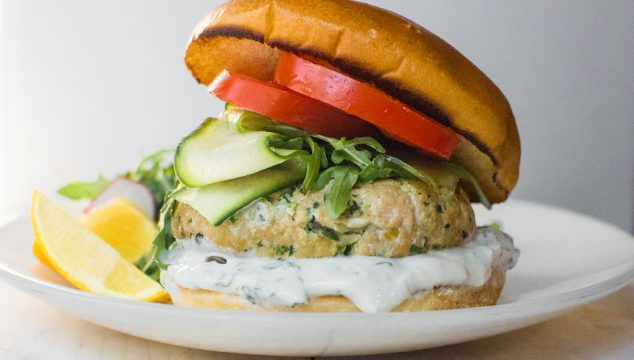 Mediterranean Salmom burgers are full of flavor with bright preserved lemon, loads of fresh herbs and warm spices to bring it all together.