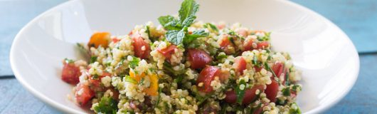 Quinoa tabbouleh is a healthy and hearty modern twist on the traditional tabbouleh salad with parsley, mint and a light dressing of olive oil and lemon juice.