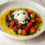 Roasted Tomatoes with Basil Oil and Burrata