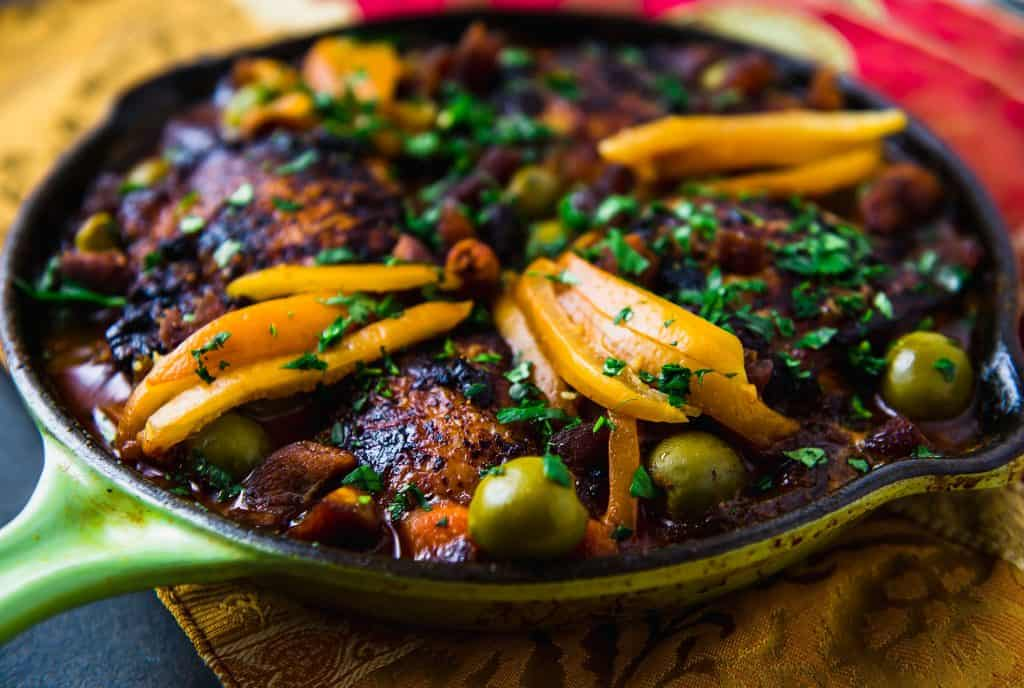 A flavorful weeknight chicken tagine recipe made in nearly 30 minutes. With just a handful of bold spices, salty preserved lemons and buttery olives.