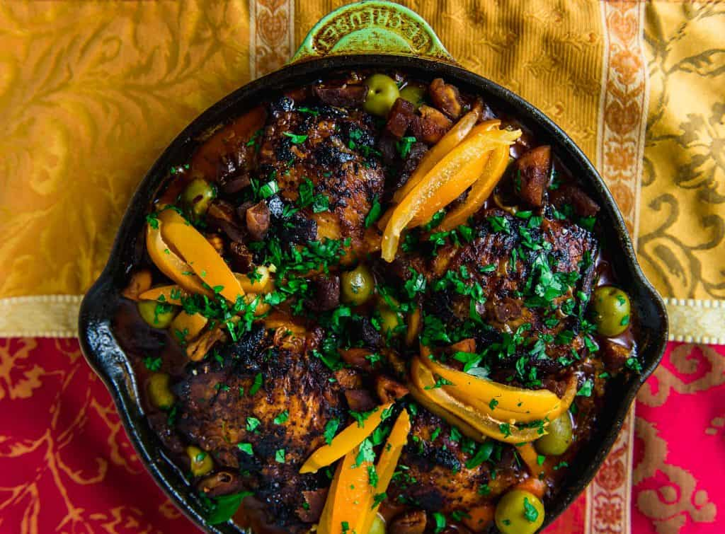 Weeknight Chicken Tagine Recipe with Preserved Lemons, Olives and Dried Apricots