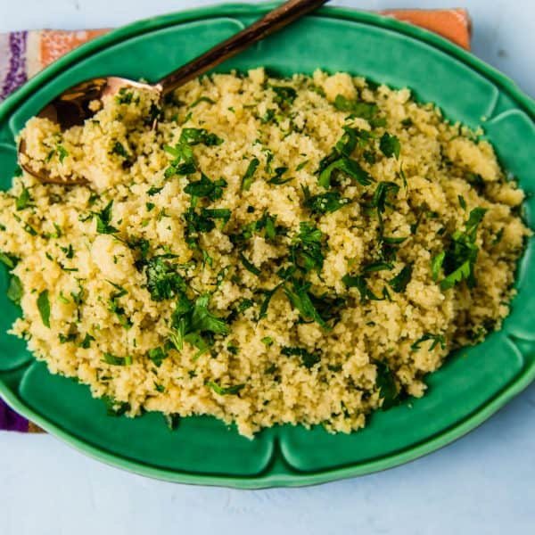 A simple recipe for lemon herb couscous that takes nearly 15 minutes and is a fantastic side to other Mediterranean dishes.