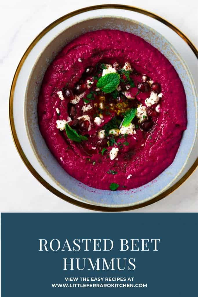 This will be your new favorite hummus! Sweet roasted beets and smoky cumin are added to homemade hummus creating the most stunning, vibrant and delicious creamy hummus.
