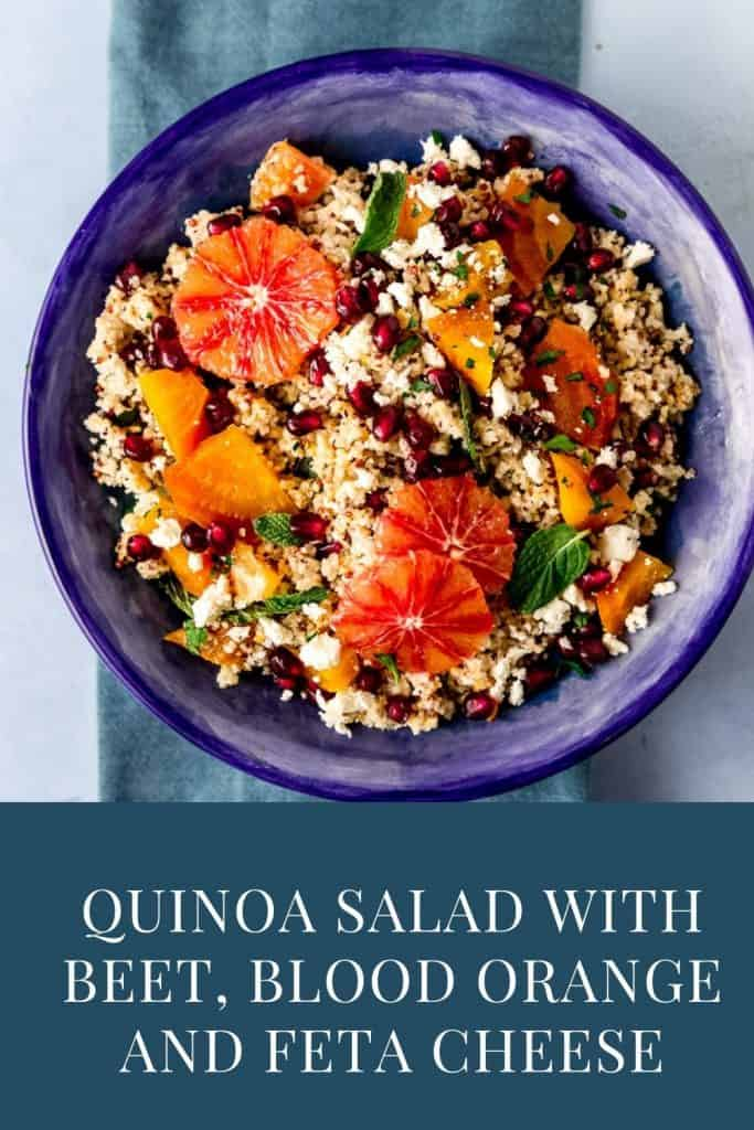 A colorful winter quinoa salad with roasted yellow beets, tangy blood orange, salty feta cheese and sweet pomegranate seeds all dressed with a simple blood orange vinaigrette.