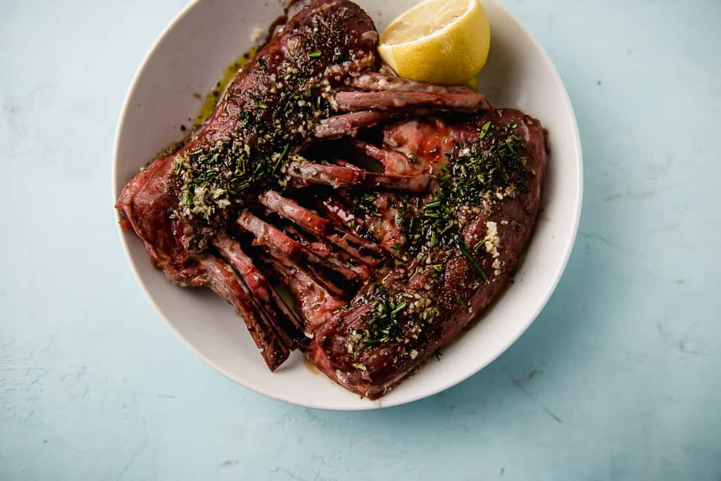 Pistachio crusted rack of lamb is a recipe to impress! Once seared, the lamb is brushed with tangy Dijon mustard and then pressed onto crushed pistachios.