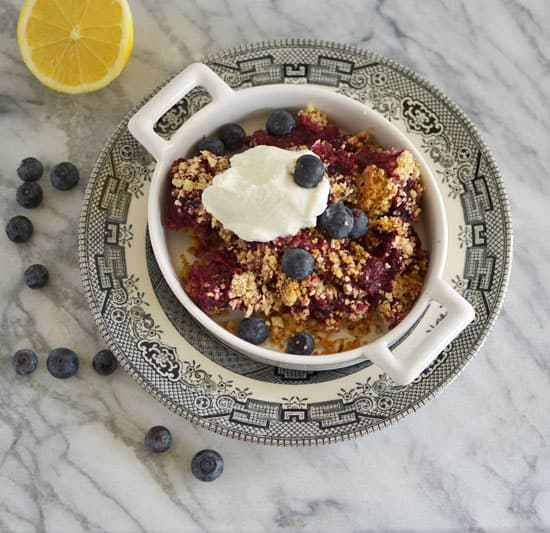 A simple Passover dessert made with fresh or frozen berries, matzo meal and ground almonds. Top with yogurt, labneh or whipped cream for a treat.
