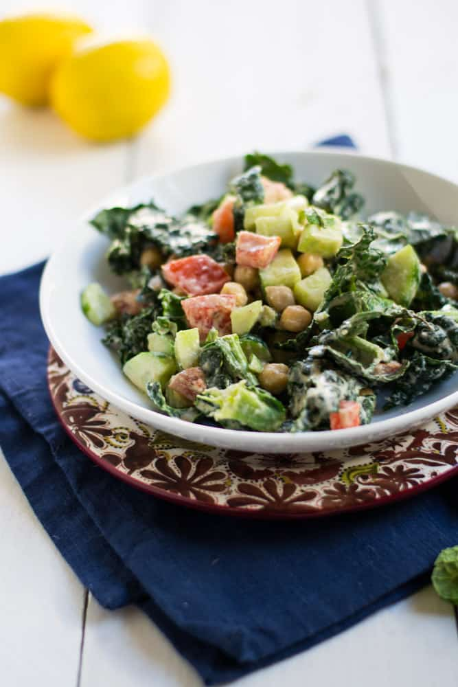 When you need to whip up a quick salad, this one is a favorite. Chopped kale is tossed with a bright  and creamy tahini dressing and savory chickpeas. The perfect kale salad for when you want something quick and incredibly delicious. Also holds up for a day or so very well!