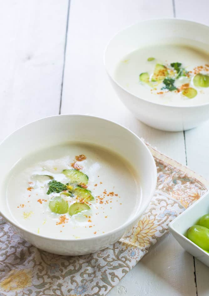 White Gazpacho is a cold refreshing Spanish soup made with almonds, sweet grapes and cool cucumbers to balance it all together.