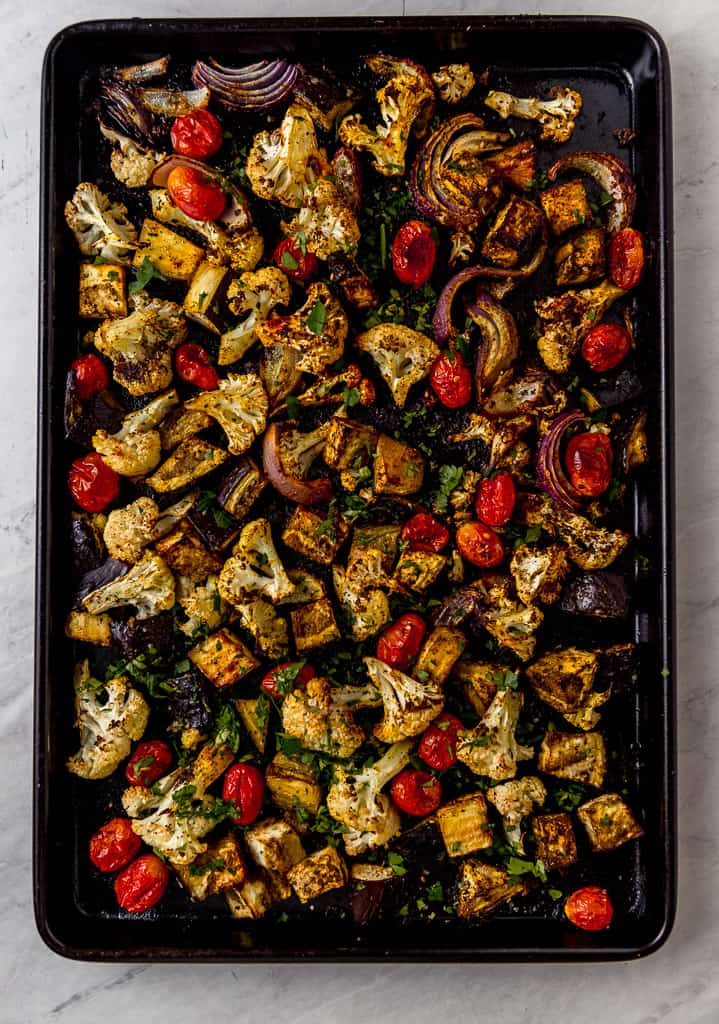 Mediterranean roasted vegetables are a simple and flavorful side dish that is seasoned with a bold spice mix of za'atar, smoky paprika, garlic and earthy turmeric. Use this blend on any combination of vegetables for a big pop of flavor.